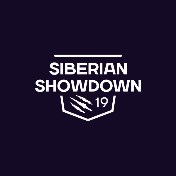Белый одноцветный логотип Siberian Showdown 2019 на тёмно-синем фоне