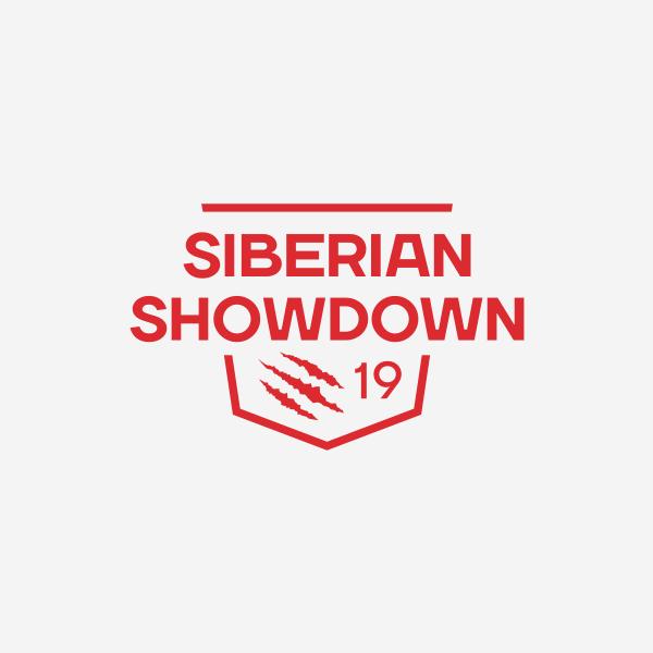 Красный одноцветный логотип Siberian Showdown 2019 на белом фоне